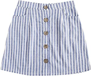 WDIRARA Women's Casual Striped Button Front A Line Mini Denim Skirt