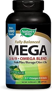 Nature's Way MEGA 3/6/9 Omega Blend, Non-GMO, Fish | Flax | Borage | Oils, Lime Flavor, 180 Count