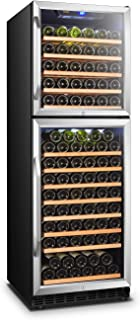 Lanbo Dual Door Dual Zone Built-in Wine Cooler with Front Exhaust, 162 Bottle