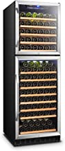 Lanbo Dual Door Dual Zone Built-in Wine Cooler with Front Exhaust, 162 Bottle