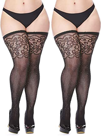8676c3af984 Women s Black Fishnet Thigh Highs Plus Size Stay-up Rhinestone Stocking 2  Pairs