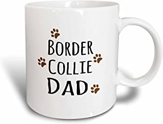 3dRose (mug_153867_1) Border Collie Dog Dad - Doggie by breed - brown muddy paw prints love - doggy lover - pet owner - Ceramic Mug, 11-ounce