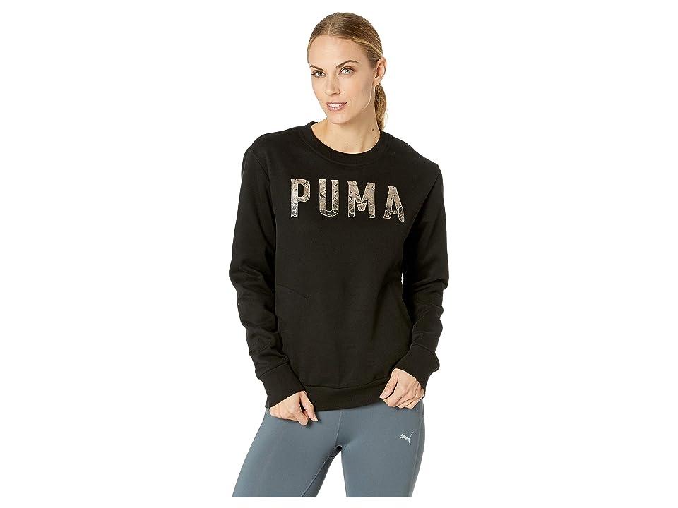 PUMA Athletic Crew Sweater (Cotton Black/Metallic Ash) Women