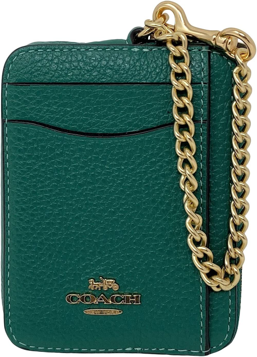 unisex Coach Pebble Leather Zip Card Case No. Style Jade 6303 Bright Challenge the lowest price of Japan