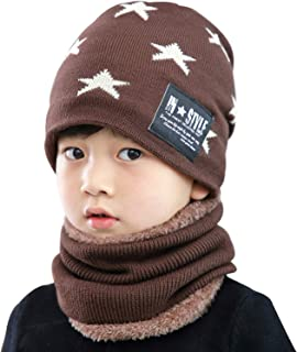 AMAZACER Kids Winter Beanie Scarf Boys Girls Warm Skull Hat Circle Scarf Set (Color : Coffee)