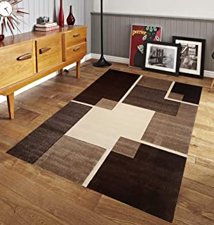 Palazzoni Renzo Collection Easy Clean Stain Fade Resistant Brown Area Rug Living Room Bedroom Kitchen, Modern Geometric Space Design Jute Backing - Artistic Mediterranean (Size 8' x 10' Feet)