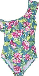Firpearl Girl's One Piece Swimsuit One Shoulder Swimwear Kids Ruffle Bathing Suits