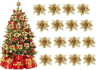Xndryan Lot de 24 fleurs artificielles à paillettes dorées pour sapin de Noël, décoration de fête, de mariage, 16 cm