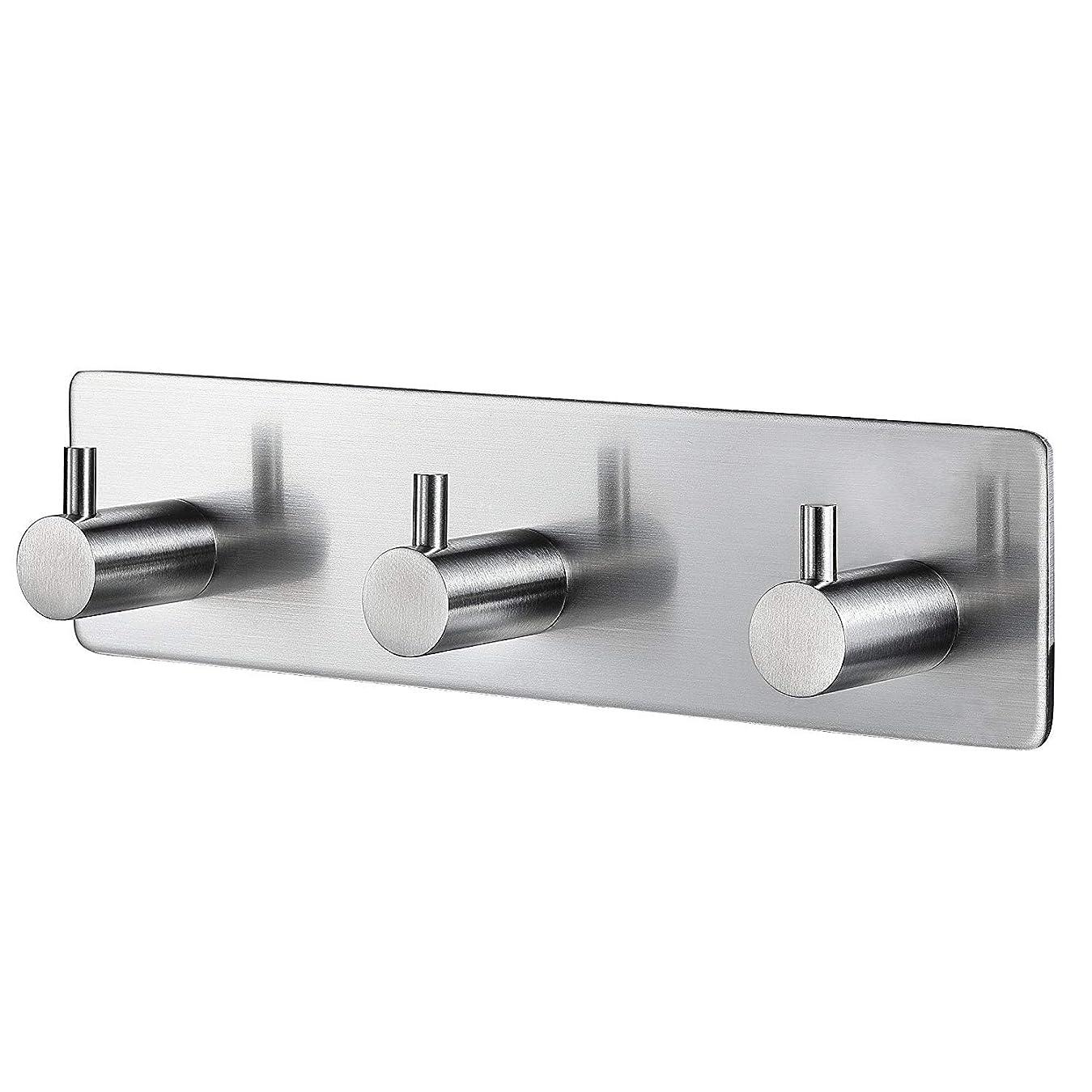 チューリップトークベッドWHSIN フック 粘着 ステンレス 強力 はがせるフック 壁 傷つけない 壁掛け フック お風呂 フック 防水 穴あけ不要 玄関 洗面所 浴室用 (3連 フック)