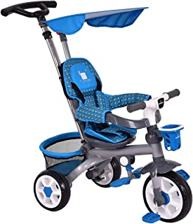 Costzon Baby Tricycle, 4 in 1 Children's Smart Trike w/Removable Push Handle, Adjustable Sunshade Canopy, Storage Basket, Cup Holder, Guard Armrest, 3-Point Safety Belt, Kids Stroller Bike (Dark Blue)