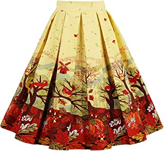 Joansam Vintage Retro Floral Print Skirts Womens High Waist Rockabilly Pleated Audrey Hepburn Style Saias Midi Swing Ball Gown Skirt