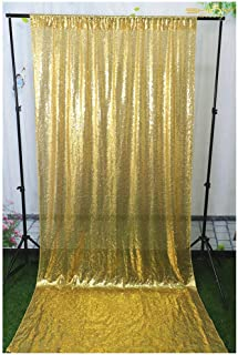 Sequin Backdrop 8FTx8FT Sequence Curtains Gold Wallpaper Wedding Ceremony Backdrop Great Gatsby Party Decorations -190626S (8FTx8FT, Shiny Gold)