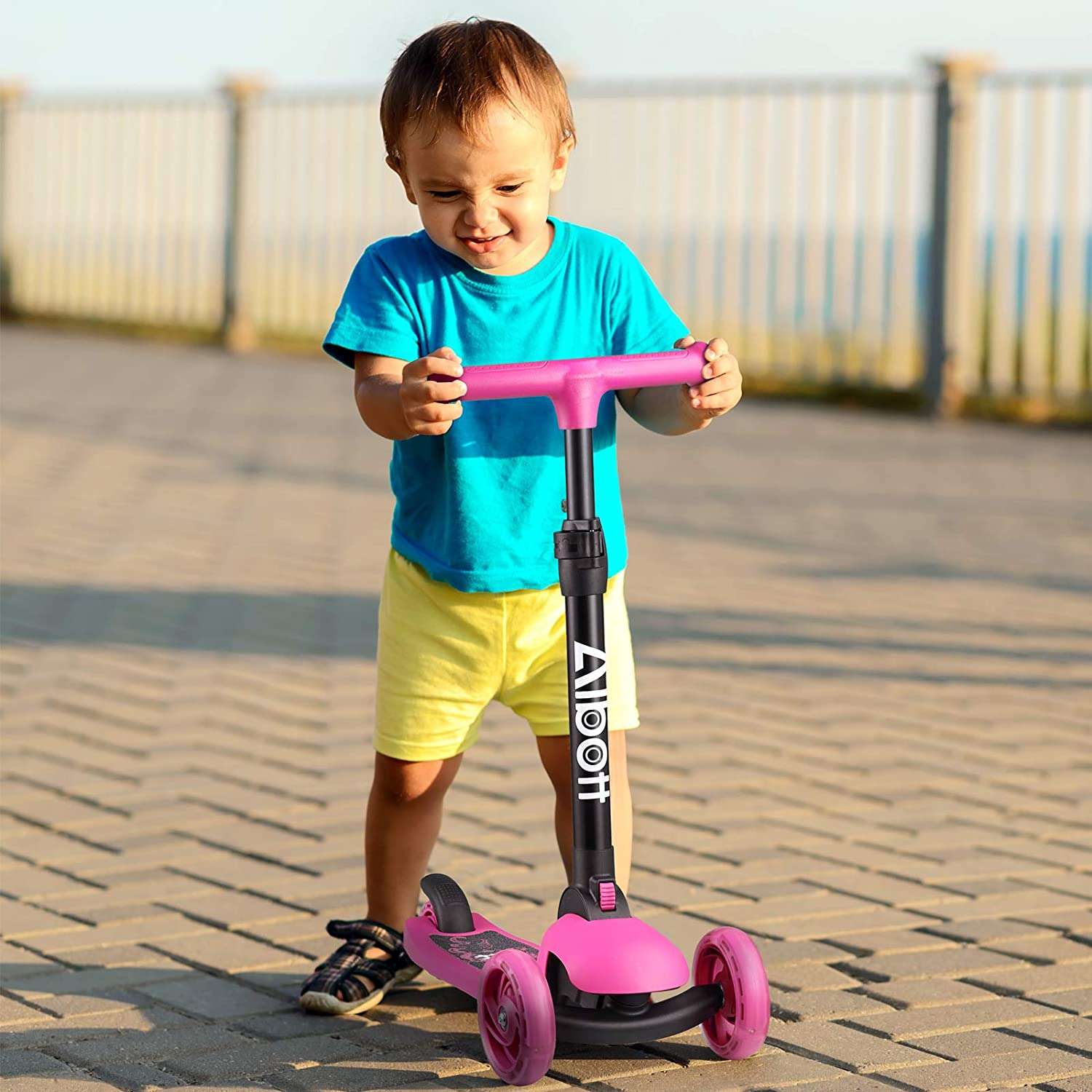 Albott 3 Wheels Kick Scooter for Kids and Toddlers Adjustable Height Folding Kid Scooter with Extra Wide Deck and PU LED Flashing Wheel No Assembly Required for 3 to 9 Years Boys and Girls