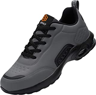DYKHMILY Safety Shoes for Men Women Lightweight Air Cushion Steel Toe Cap Trainers Breathable Industrial Work Shoes