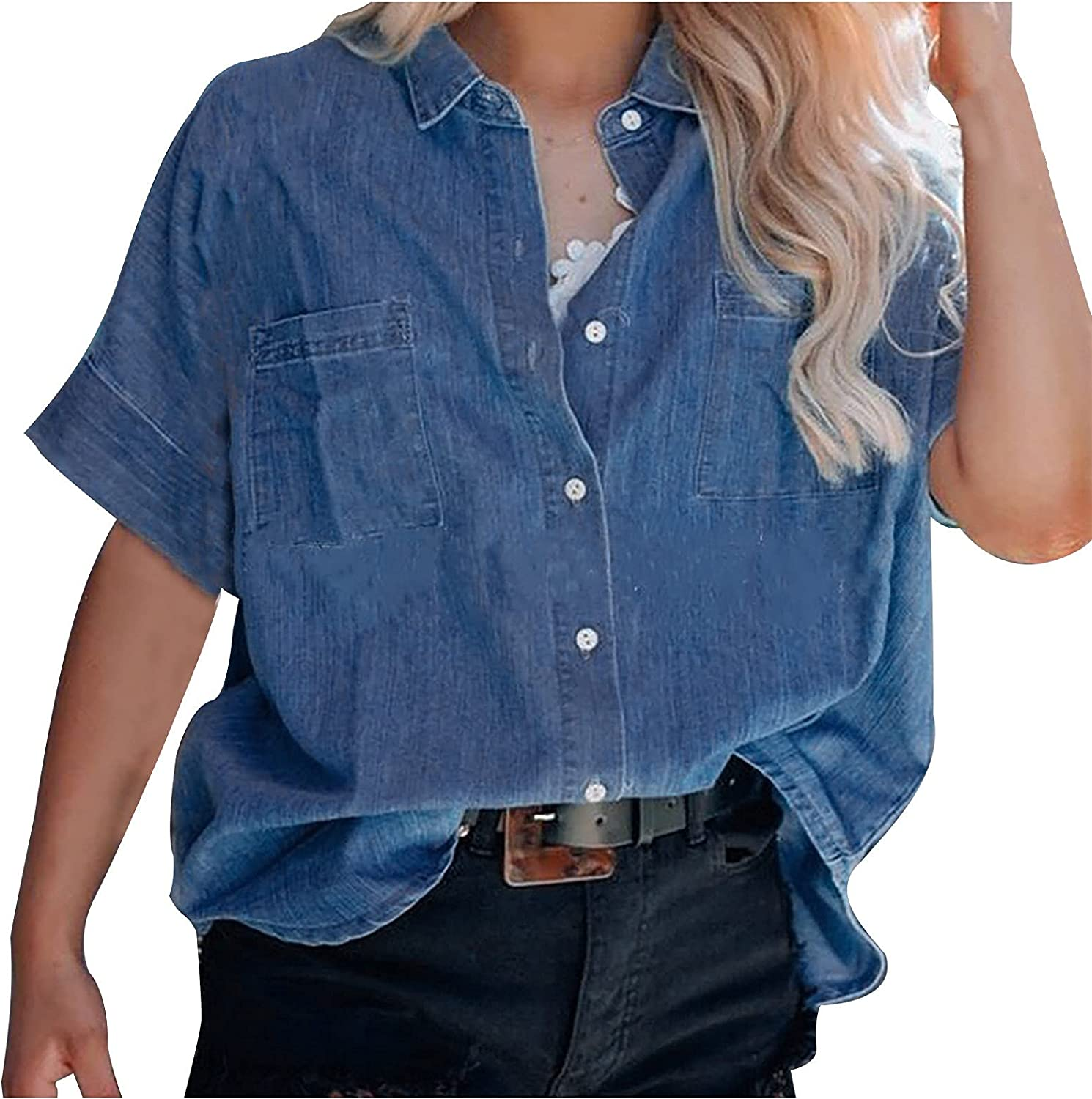 ovticza Tank Tops for Women Womens V Neck Shirts Loose Blouse Short Sleeve Button Down Casual Work Tops
