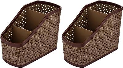 Kuber Industries Compact 2 Piece Plastic Storage Basket, Brown