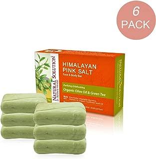 Natural Solution Himalayan Pink Salt Soap Bar,Moisturizing And Organic Bar Soap,Olive Oil & Green Tea - 5.2 oz Each (6 Pack)