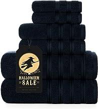 مجموعة مناشف حمام قطيفة تركية فاخرة، مجموعة مناشف من 2 منشفة حمام، 2 منشفة يد، 2 منشفة عالية الامتصاص، اسود