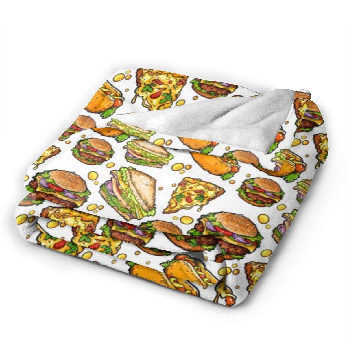 ハンバーガーピザホットドッグ ブランケット 毛布 暖かい 柔らかい 軽量 オフィス用 車用 三つのサイズ