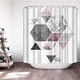 VividHome Geometric Shower Curtain Grey Pink Bath Curtains Marble Texture Triangle Pattern Waterproof Polyester Fabric Bat...