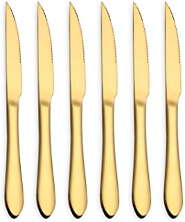 Amazon Brand Gold Steak Knife Set, Stainless Steel and Durable comfortable grip handle, Mirror Polish and Gold Titanium Pl...
