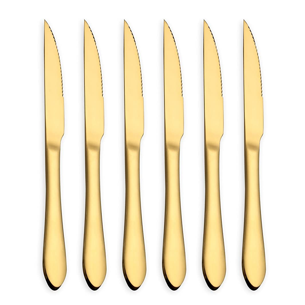 HOMQUEN Gold Steak Knife Set, Stainless Steel and Durable comfortable grip handle, Mirror Polish and Gold Titanium Plated, for Pizza or Steak (Gold, Set of 6)