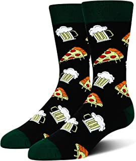 Men's Novelty Cool Flamingo Shark Pizza Book Crazy Halloween Business Crew Socks