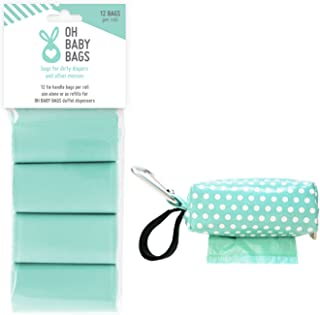 Oh Baby Bags Diaper Bag Clip-On Dispenser with Scented Disposable Bags for Dirty Diapers - Bags Made of Recycled Plastic - Seadot Duffle plus 96 Seafom Scented Bags
