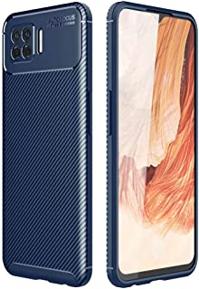 Dalchen for OPPO F17 Carbon Fiber Ultra Slim Case, Silicone Soft TPU Minimalist Shockproof Protective Cover in Blue, 2 Pac...