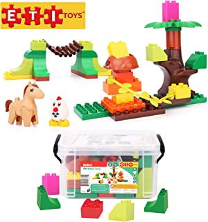 ETI Toys, 39 Piece Bublu Petting Zoo Building Blocks. Build Forest, Natural Habitat of Animals, Zoo. 100 Percent Non-Toxic, Creative Skills Development. Gift, Toy for 3, 4, 5 Year Old Boys and Girls