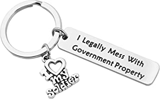 BNQL Military Wife Keychain I Legally Mess with Government Property Military Gift