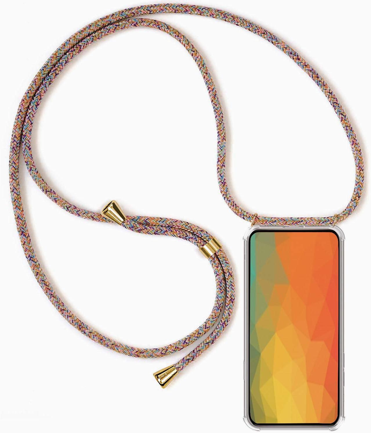 Funda para Xiaomi Mi 11 Lite 4G / 11 Lite 5G con Cuerda, Carcasa Transparente TPU Suave Silicona Case con Correa Colgante Ajustable Collar Correa de Cuello Cadena Cordón Anti-Choque Case, Multicolor