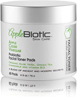 Apple Cider Vinegar Face Toner Pads for Normal, Oily, Dry, Sensitive and Acne Prone Skin – Brightening, Cleansing Beauty Wipes with Probiotic, Green Tea, Organic Aloe, For Women, Men, Teens, 60ct