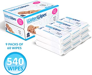 WaterWipes Unscented Baby Wipes, Sensitive and Newborn Skin, 9 Packs (540 Wipes)