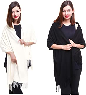 REEMONDE Large Extra Soft Cashmere Blend Women Pashmina Shawl Wrap Stole Scarf (2 Pack - Black & Cream)