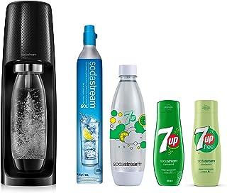 Sodastream Pack Spécial Machine Spirit Noire Plastique, Une Bouteille 1L, Une Bouteille FUSE 7UP et 2 Concentrés 7UP [Excl...