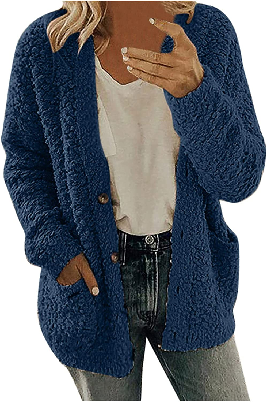 Haozin Women's Casual Cardigan Fleece Coat Wool Blend Long Sleeve Button Down Solid Shaggy Teddy Jackets With Pocket