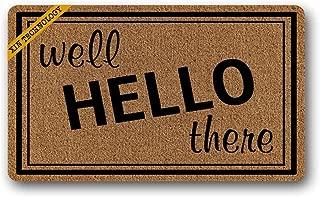 Artsbaba Welcome Doormat Well Hello There Door Mat Rubber Non-Slip Entrance Rug Floor Mat Balcony Mat Funny Home Decor Indoor Mat 30 x 18 Inches