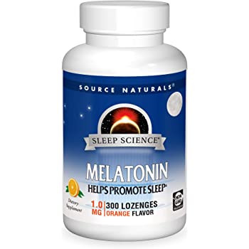 Source Naturals Sleep Science Melatonin 1 mg Orange Flavor - Helps Promote Sleep - 300 Lozenge Tablets