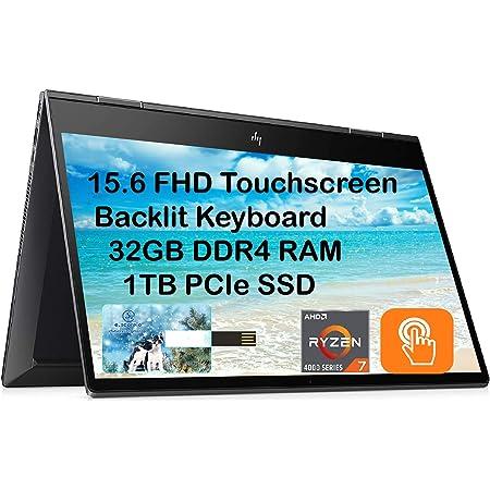 "2021 Newest HP Envy x360 2 in 1, 15.6"" FHD Touchscreen Business Laptop, AMD 8-Core Ryzen 7 4700U (Beat i7-8550U), 32GB RAM, 1TB PCIe SSD, Backlit-KB, FP Reader, Win 10, Black ES 32GB USB Card"