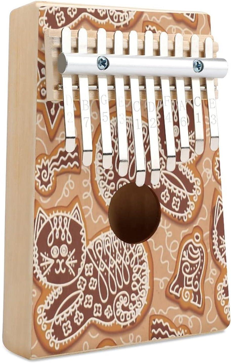 Gingerbread Cats Kalimba Thumb Piano Musical Key 10 online shop Max 72% OFF Finger