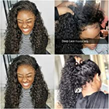 Brazilian Deep Wave Lace Front Wigs Human Hair Wigs with Baby Hair 100% Unprocessed Virgin Hair wigs with Lace Frontal Wigs Pre Plucked Wet and Wavy Human Hair Wig Deep Wave Lace Front Wigs