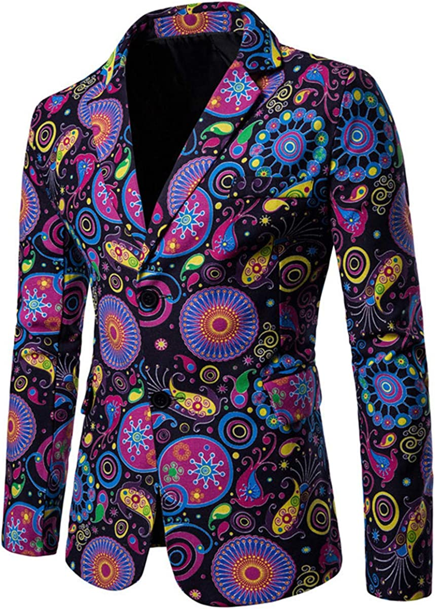 Mens Suit Jacket Floral Printed Two Button Casual Blazer Sports Coat