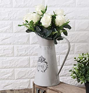 VANCORE Vintage White Shabby Chic Metal Jug Pitcher Flower Vase for Home Decoration (Height 11 Inch)