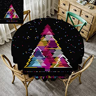 Kmydt Merry Christmas, Indoor/Outdoor Round Tablecloth, Christmas Decoration Premium Round Tablecloth Polyester Spill-Proof Water Repellent Xmas Abstract Christmas Tree Snowflake Colorful - 62