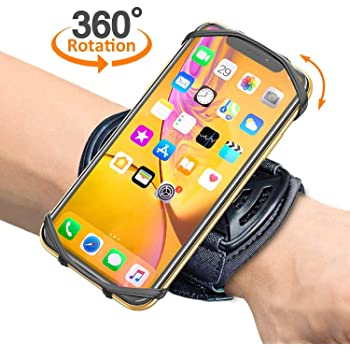 """Comsoon Sports Wristband, 360° Rotatable Forearm Armband Phone Holder Compatible with iPhone 11 Pro Max/Xs/XR/8/7/SE, Galaxy S20/Note9/S9 Plus & More 4""""-6.5"""" Phone, with Key Holder for Biking Running"""