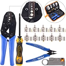 Swpeet 14Pcs Professional Crimping Tool Kit, Ratcheting Wire Terminal Crimper Tool Kit with 1Pcs Cable Stripper and 10pcs 50 Ohm BNC Crimp Male/Straight Connectors for Coax Connectors