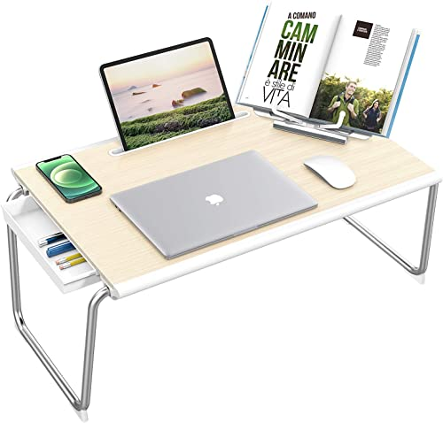 """discount NulaxyFolding Table,XXL Large Size 26""""x17.2""""x12.2"""" Laptop Desk for Bed with Storage Drawer and Book Stand ,Sofa Table, Bed Table for outlet sale Laptop, Folding sale Desk Working, Writing, Gaming, Drawing(White Oak) sale"""