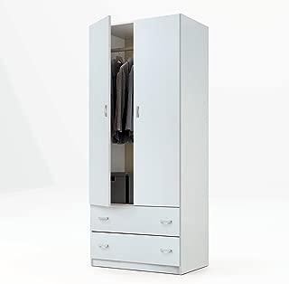 Armario ropero Color Blanco Brillo de 2 Puertas y 2 cajones