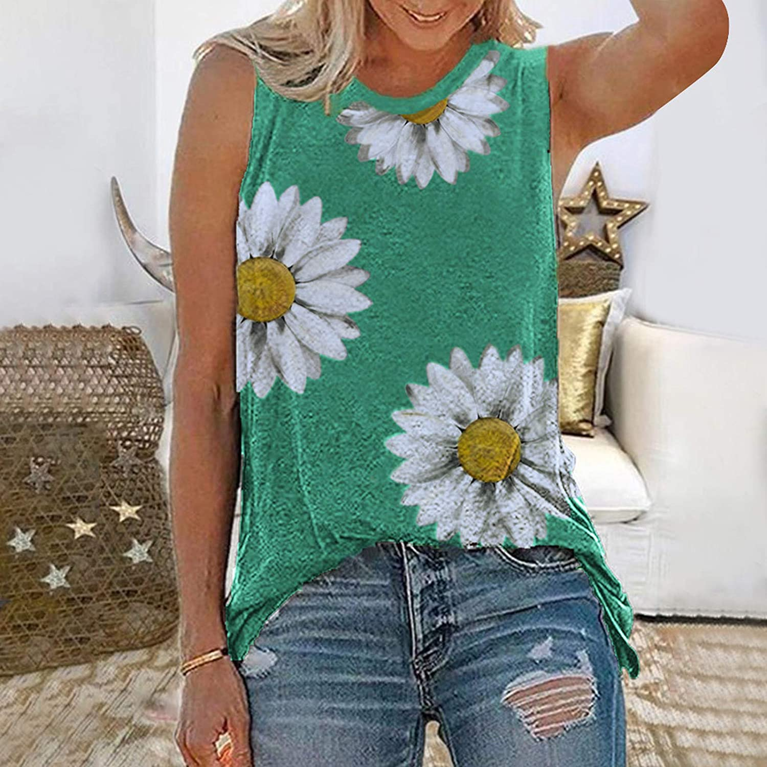 Tops for Women Casual Summer,Women's Sunflower Graphic Tank Tops Summer Casual Basic Sleeveless Shirts Funny Graphic